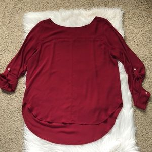 ANN TAYLOR LOFT Red Long Sleeved Blouse